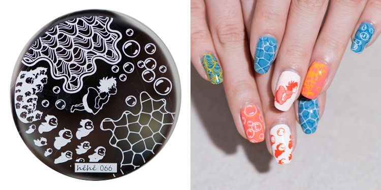 Wholesale Hehe New Stamping Plate Hehe66 Ccean Wave Water Bubbles