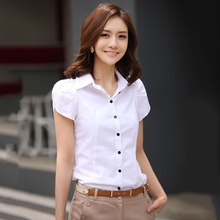 S-5XL Women Shirts 2016 New Arrival Summer White Butterfly Short Sleeve Blouse Slim OL Plus Size Office Ladies Tops