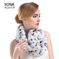 YCFUR Women Ring Scarves Winter 2016 New Arrival Genuine Rex Rabbit Fur Wraps Winter Knit Real