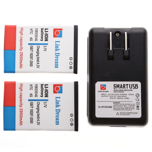 High Quality Link Dream 3.7V 2950mAh Mobile Phone Li-ion Battery x 2 + US Plug Cell Phone Battery Charger for HTC EVO 4G(China (Mainland))