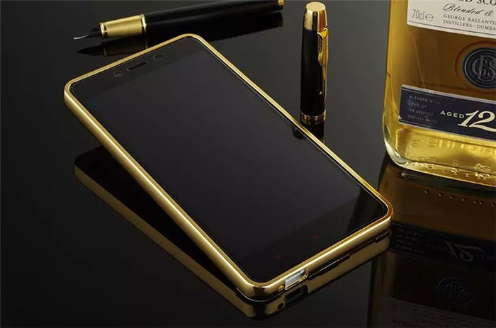 For Xiaomi Hongmi Redmi Note 2 Hybrid Cover Ultra Thin 1mm Cases Edge Gold Plated Metal Aluminum + Acrylic Mirror Back Bumper
