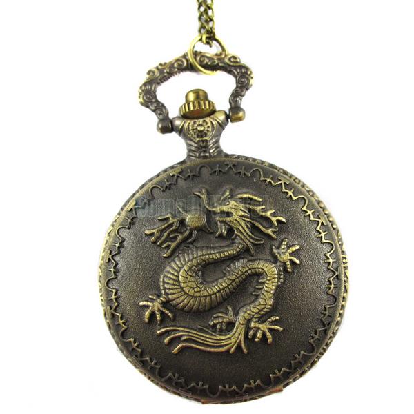 Bronze carved dragon quartz pocket watch (NBW0PO7772-CO3)(China (Mainland))