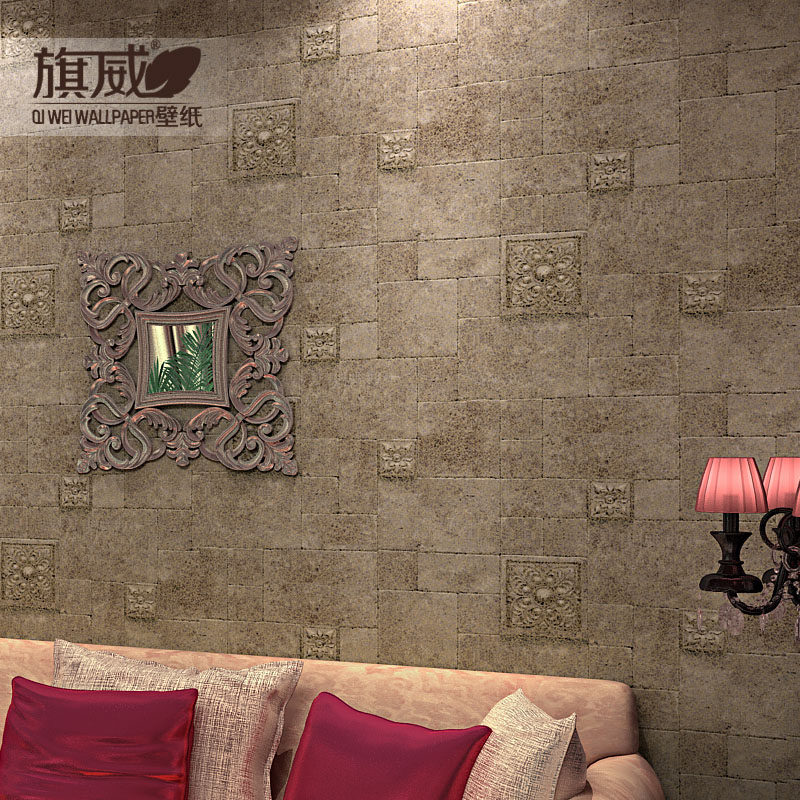 Buy 3d brick wall wallpaper tv 3d stone vintage tapete for Mosaic wallpaper for walls