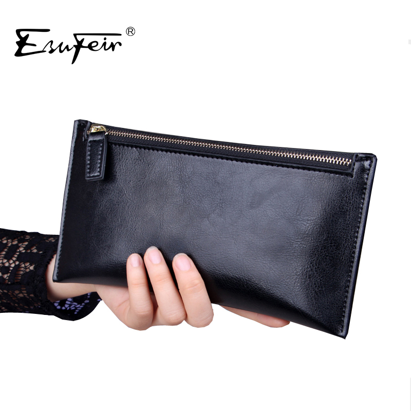 ESUFEIR High Quality Leather Women Wallet Solid Zipper wallet Purse multiple cards holder Clutch For Girls Women Standard Wallet(China (Mainland))