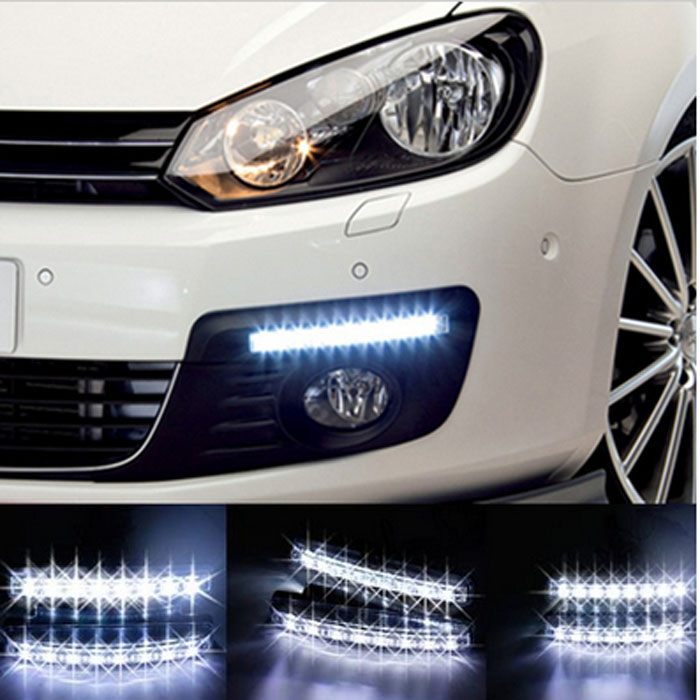 2PCS Universal Car Light  Car Fog Lights Super White 8 LED Daytime Running Light  12V DC  Head Lamp Car Styling(China (Mainland))