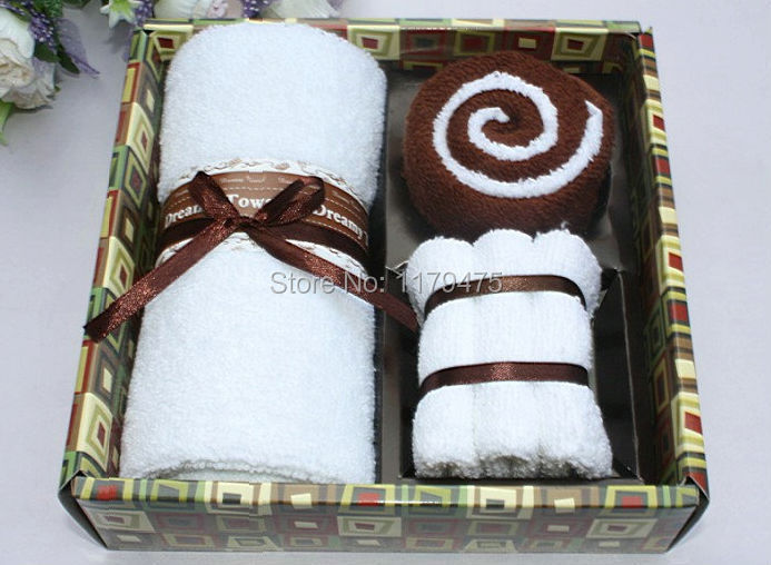 1 Set Creative Cotton Blend Business Style Gift Box Towel Cake Towel Wedding Christmas Presents Gifts Favors Supplies(China (Mainland))
