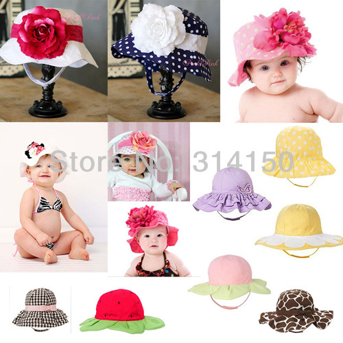 Baby Girl Caps Girl Summer Flowers Sun Hats Children Cotton Fashion Floral Caps Summer Accessories 1pcs(China (Mainland))