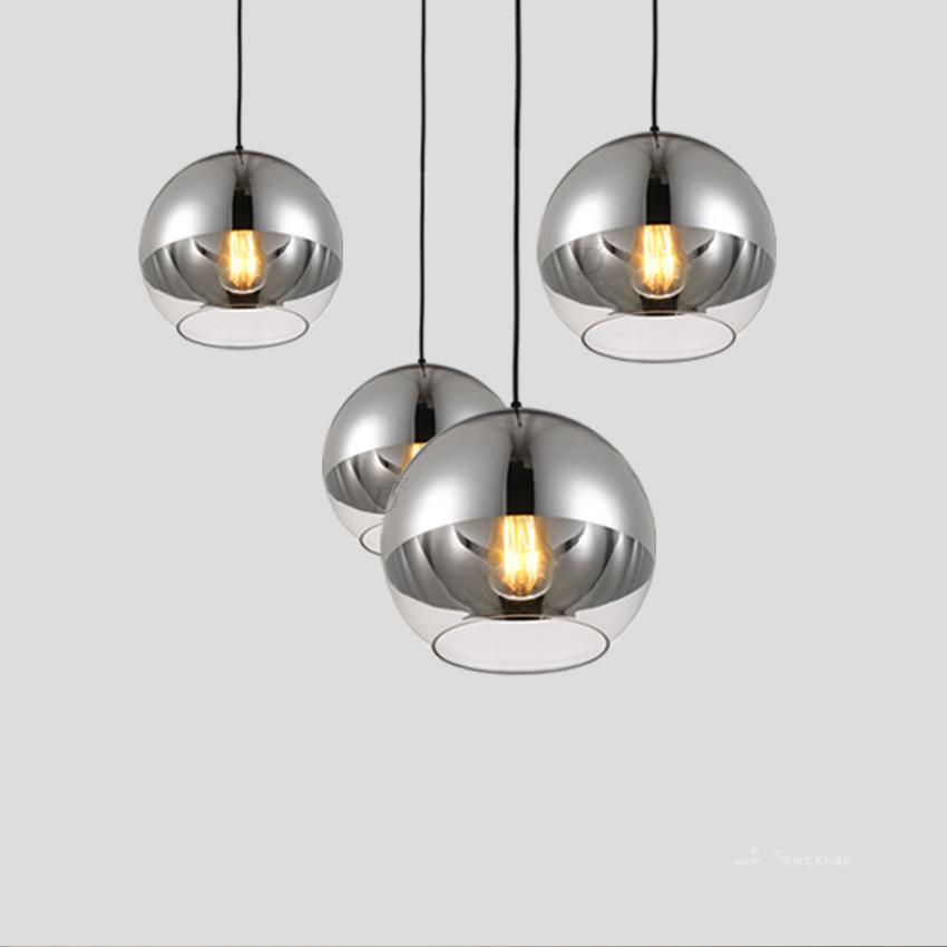 modern brief mirror glass ball pendant light chrome color vacuum lustre globle pendant lamps kitchen fixture ball pendant lighting