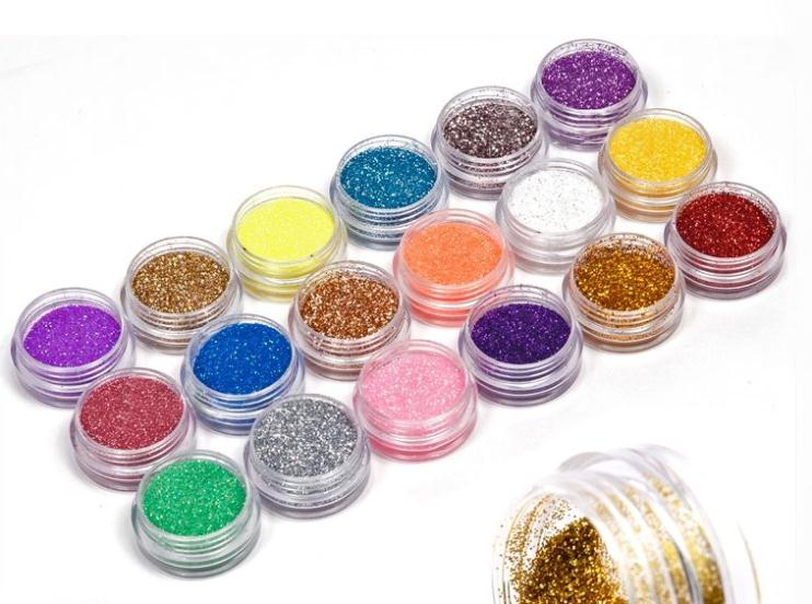 18 Colors nail glitter powder Dust For UV GEL Acrylic Powder nail art Decoration(China (Mainland))