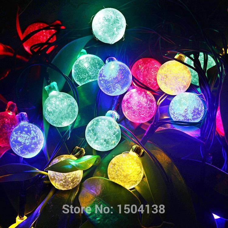LED luminaria colorful Crystal Ball Solar Powered christmas solar string lamp outdoor garden decoration Solar Led String Light(China (Mainland))