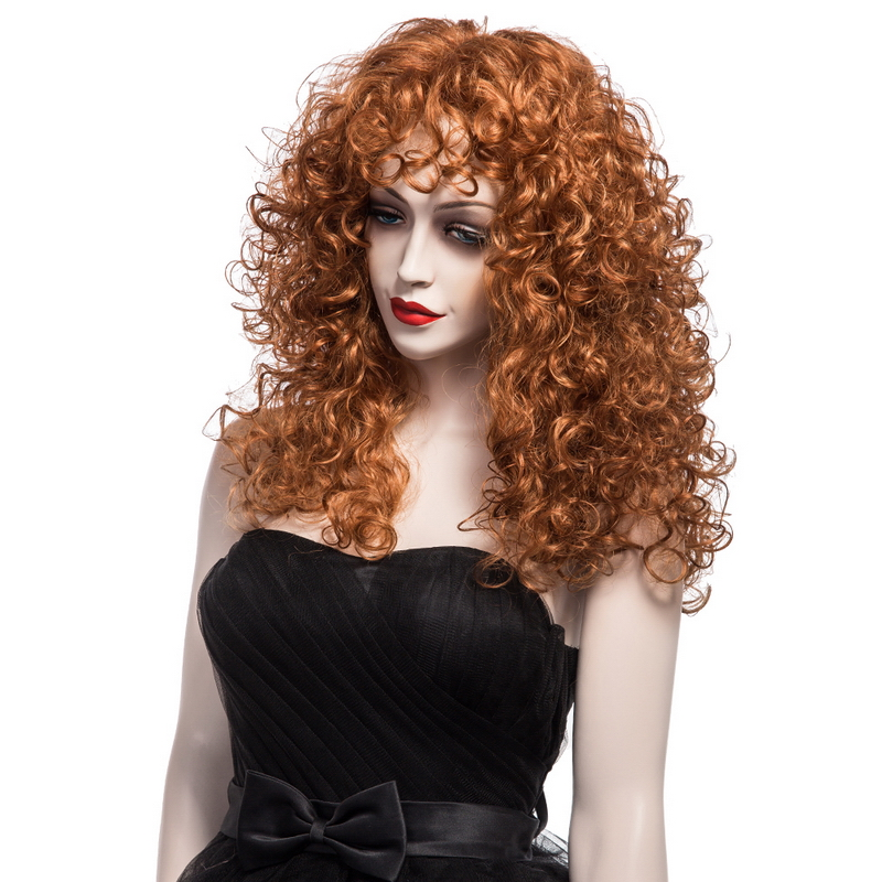22inch Fashion Sexy High Quality синтетический African American Long Curly Wigs With Bangs For Women Bright Brown Hair Free Shipping
