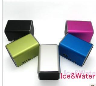 Portalbe Mini MP3 Speaker with FM Radio Free Shipping HIFI  Micro SD TF Card USB Disk Computer Speaker+charger+memory card