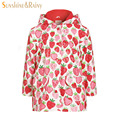 2016 Autumn Girls Warm Jackets Coats Kids Fleece Windbreaker Strawberry Print Baby Girl Raincoat Children Waterproof