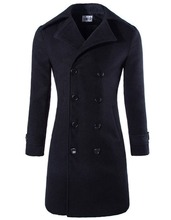 Men's Woolen Slim Double Breasted Trench Jacket Fashion Classic Pea Coat(China (Mainland))