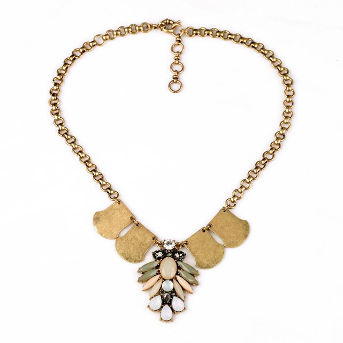 Hot New Factory Wholesale Party Major Suit Gold Texture Flower Necklaces Pendants Stone(China (Mainland))