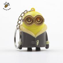 1Pcs 3D Minions Toys Cartoon Movie Despicable Me 2 Mini Minion Keychains Doll PVC Action Figure Toy Kids Toys(China (Mainland))
