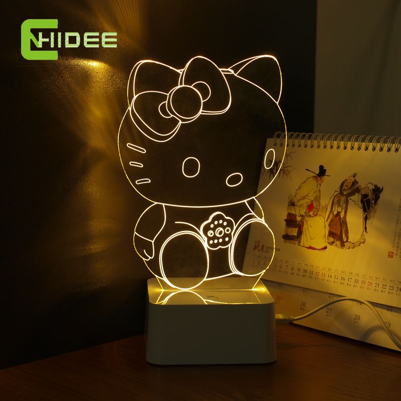 CNHidee Fascinating USB Home Lampe Cute Cartoon Hello Kitty Touch Dimmable 3D Night Light for Children as Bedroom Lampara(China (Mainland))