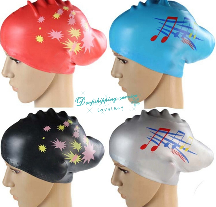 Female Private Silicone Waterproof Swimming Cap Stars Pattern Protect Ears Long Hair Care Hats - ET2-9 store