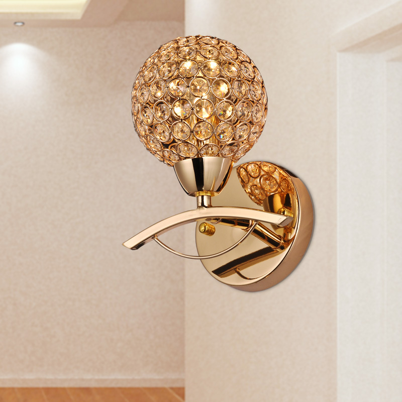 Modern Wall Sconces Living Room : 2015 Brief modern single crystal wall sconce golden Wall lamp living room stair light wall ...
