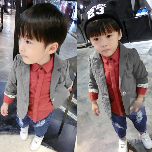 Boys Cotton Suit Gentleman Blazer Kids One Button Fall Jacket Coat Outerwear(China (Mainland))