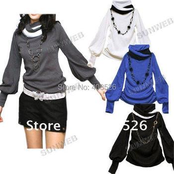 Free Shipping Wholesale Women's Shirt Cotton New Fashion Lantern Sleeve Long Sleeve T-shirt  sexy tops 4 colors 29