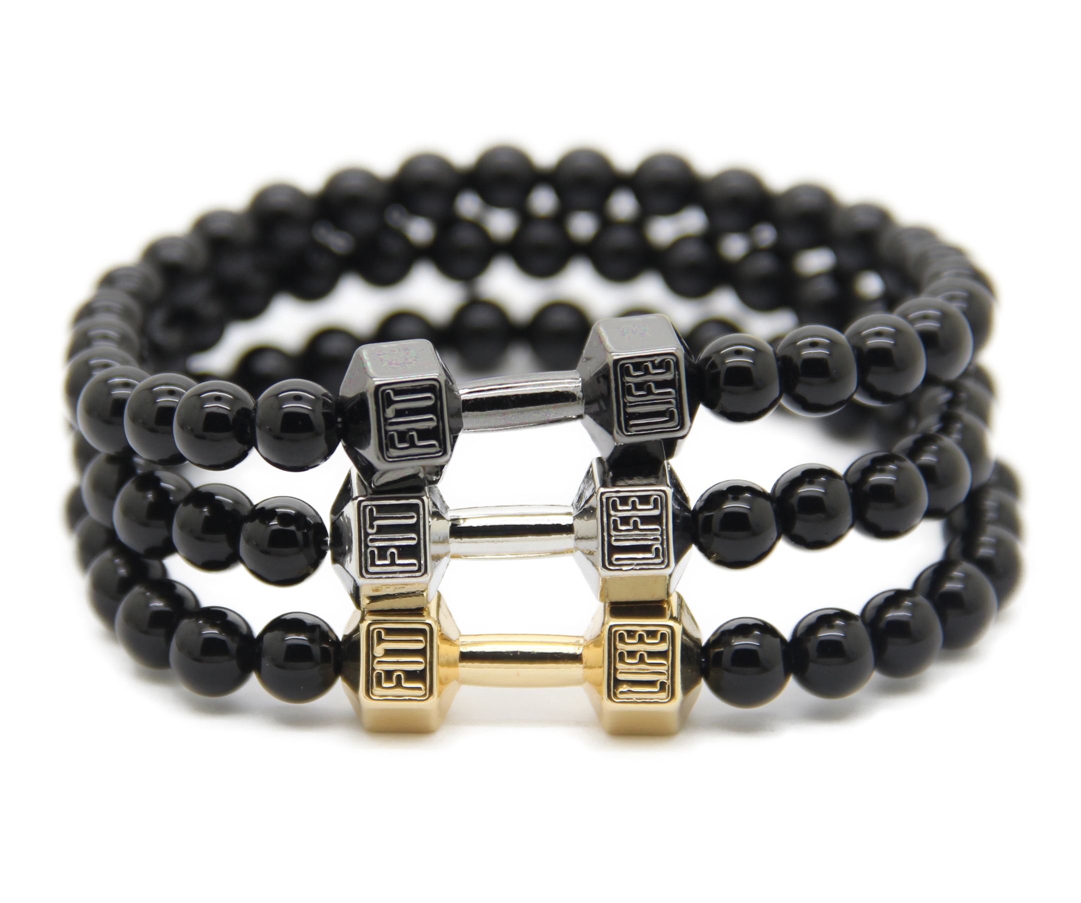 Retail Men's Fashion Energy Jewellry, 6mm Black Round Beads with Alloy Metal Fitness Dumbbell Charm Bracelets(China (Mainland))
