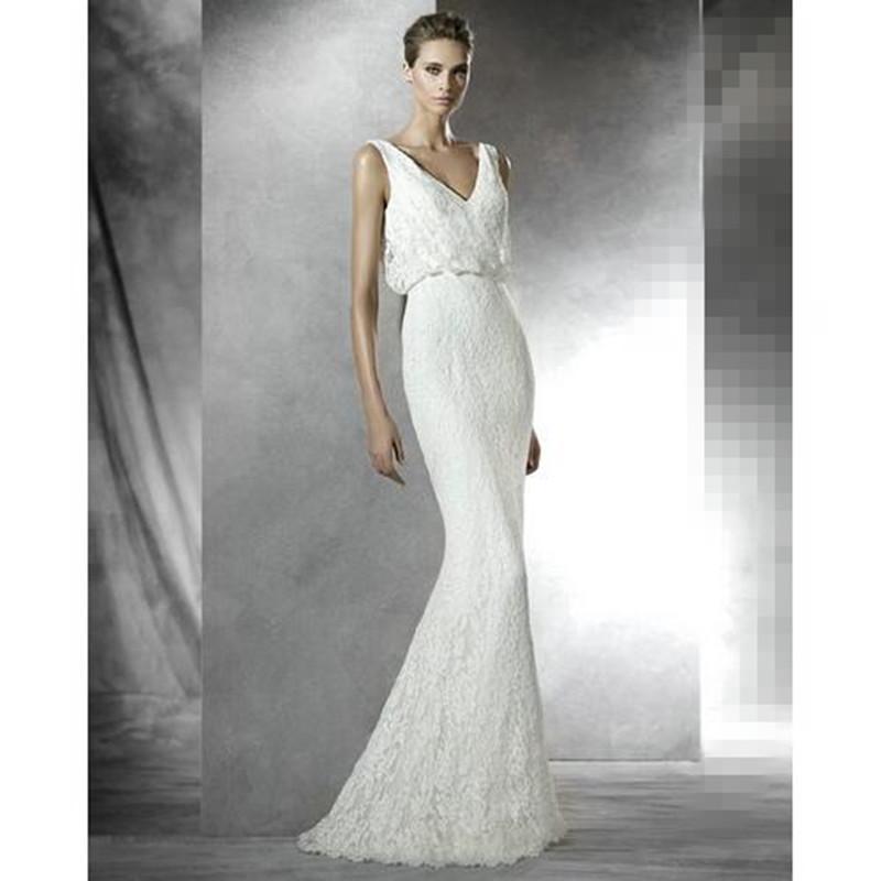 Style preslie v neck wedding dress simple sheath floor for Sheath style wedding dress