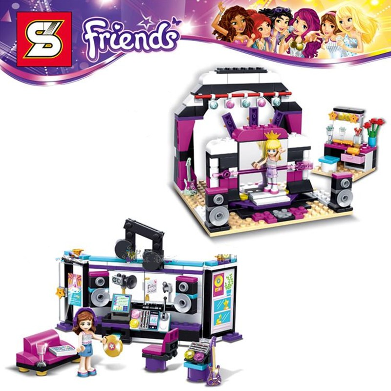 377 Baby toys Girl 2PCS Friends POP STAR Girl Recording Studio Show Stage Dressing Room Building set toys(China (Mainland))