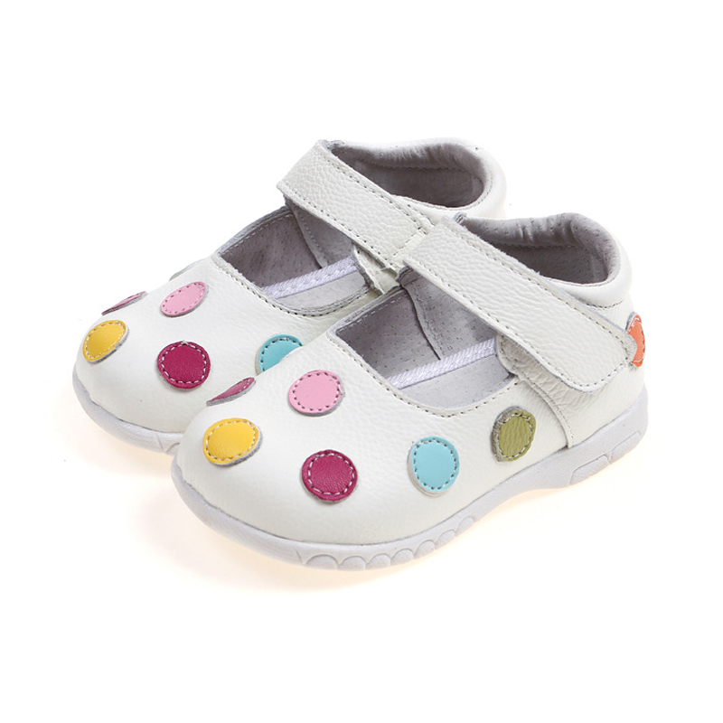 Baby Toddler Shoes 2016 New Spring Genuine Leather Children Shoes for Girls Polka Dot Kids Sandals Girls Princess Shoes(China (Mainland))