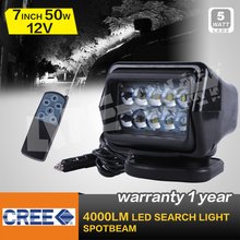 50W CREE LED REMOTE CONTROLLER SPOTLIGHT,WIRELESS LED SEARCH LIGHT,BLACK COLOR FOR BOAT MARINE,4x4 OFF ROAD USE(China (Mainland))