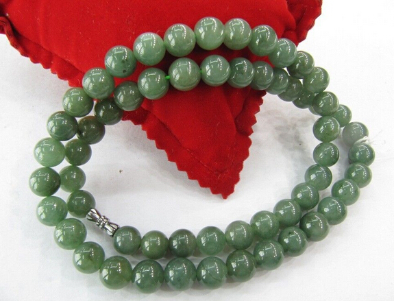 bjc 0001452 Genuine 100% Natural Grade Oil Green Jade (Jadeite ) Necklace 18 L 10mm Bead  -  jewelry and statue store