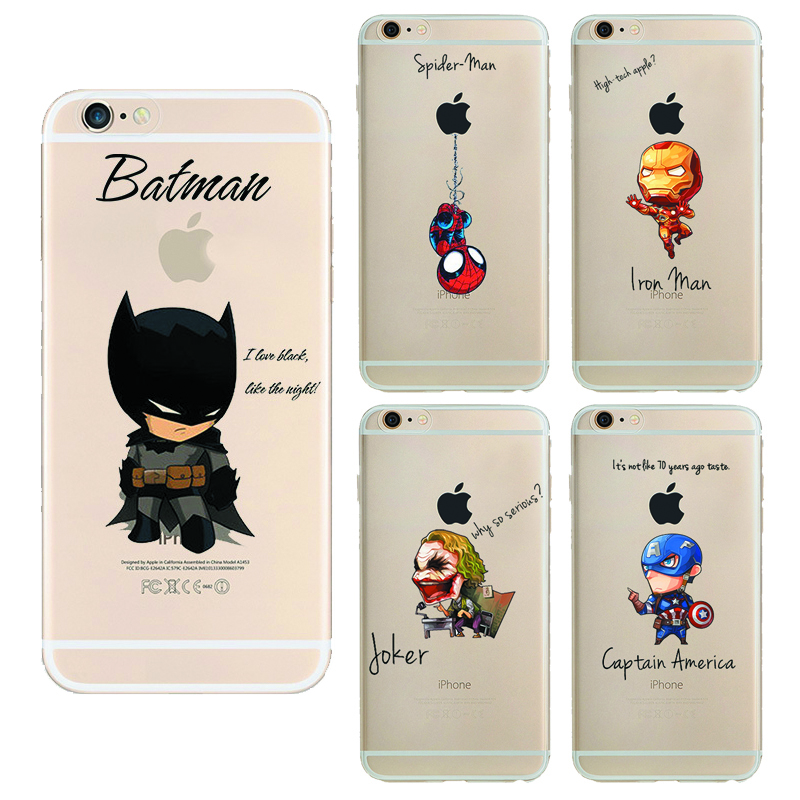 Cartoon Raytheon Batman Soft Tpu Back Cover Phone Case For Apple Iphone 6 6s iron Man Captain America Spider-Man Silicone Coque(China (Mainland))
