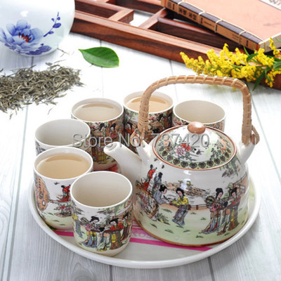 Free shipping 7 sets ( teapot 1000ml +six cups 170ml) great gift of china porcelain drinkware crafts teapot cup tea sets(China (Mainland))