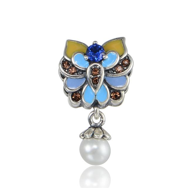 925 - серебристо-ювелирные бусины S341 эмаль цветок CZ жемчужные бусины Fit Chamilia пандора браслет серебро 925 ювелирных изделий DIY