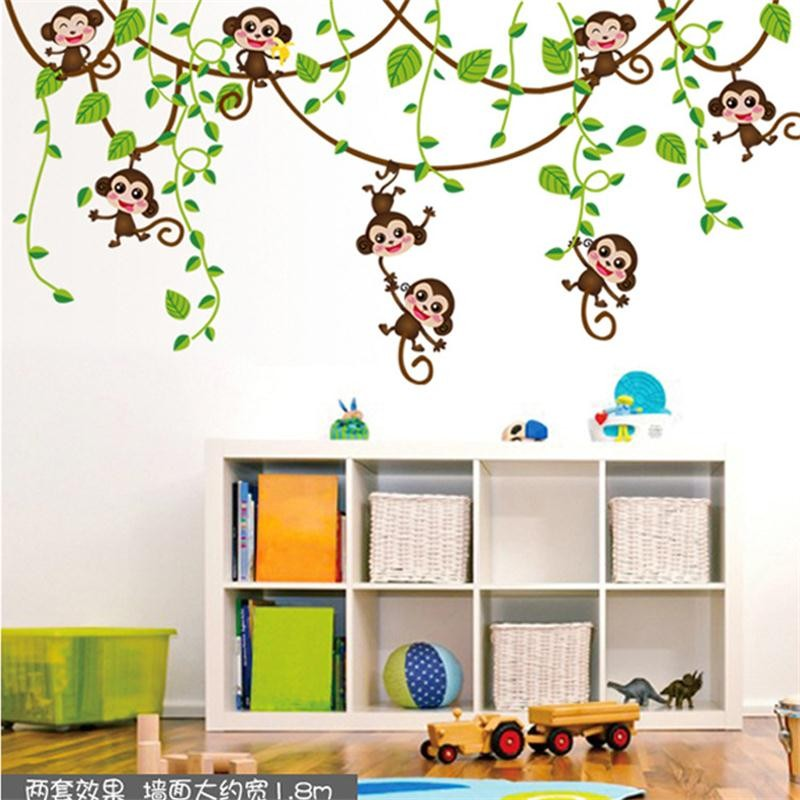 %cute mini monkeys vinyl wall stickers decals children animals plants wallpaper mural girls boys kids home bedroom nursery decor(China (Mainland))