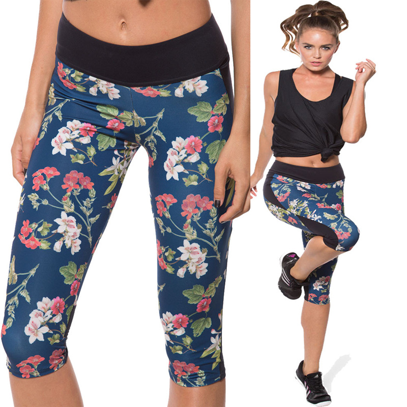 Yoga Pants Women Fitness Sports New Fashion Printing Yoga Pants Slim Leggings Fitness Women Sportswear For Women Calf Length(China (Mainland))