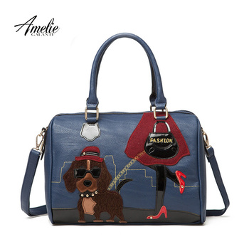 AMELIE GALANTI 2014 new fashion retro handmade embroidery cartoon lovely dog bag portable shoulder bag women bag free shipping