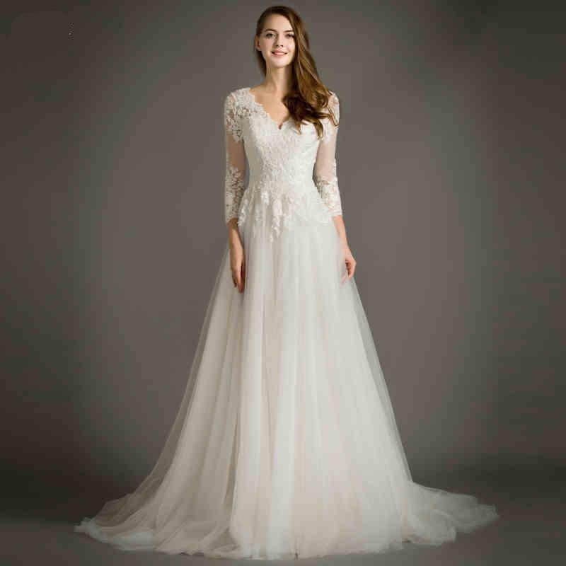 2016 high end white spring v neck three quarter applique for Three quarter wedding dresses