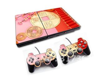 Sticker for PS2 console+2pcs controllers, OEM & Mixed designs are available.