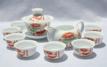 10pcs smart China Tea Set, Pottery Teaset,Fish ,A3TM08, Free Shipping