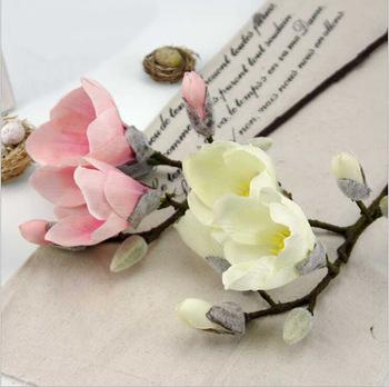 Home fashion rattan square basket artificial Mangnolia decorative flower high grade silk flower free shipping(China (Mainland))