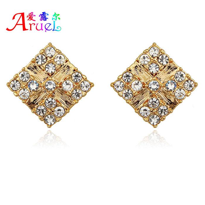 ohrring wholesale aretes hot new fashion 18k gold plated jewelry imitation diamond crystal square stud earring 2015 brinco ouro(China (Mainland))