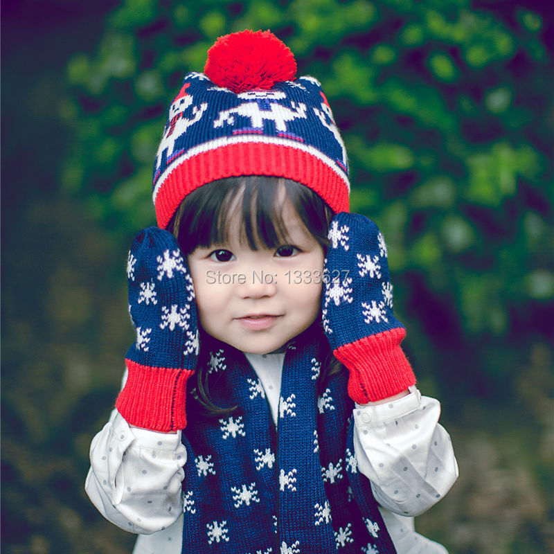 2016 autumn winter children kint hat scarf glove three