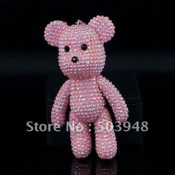 Free shipping fahsion jewelry double side rhinestone teddy bear keychain,6.5cm*13.0cm