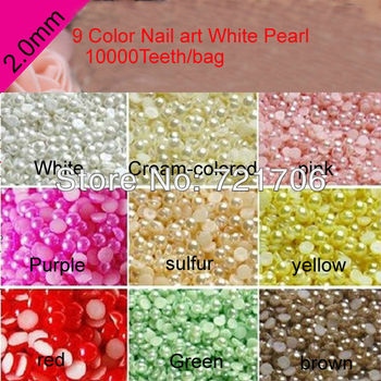 2mm 10000pcs 9 Colorchoose Semicircle Flatback ABS Half Pearl beads DIY accessory for Nail/Mobile Phone garment   10000pcs/bag