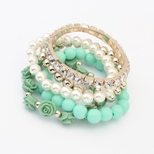 2015 Trendy Fashion Candy Color Pearl Rose Flower Multilayer Charm Bracelet & Bangle For Women Fashion Jewelry(China (Mainland))