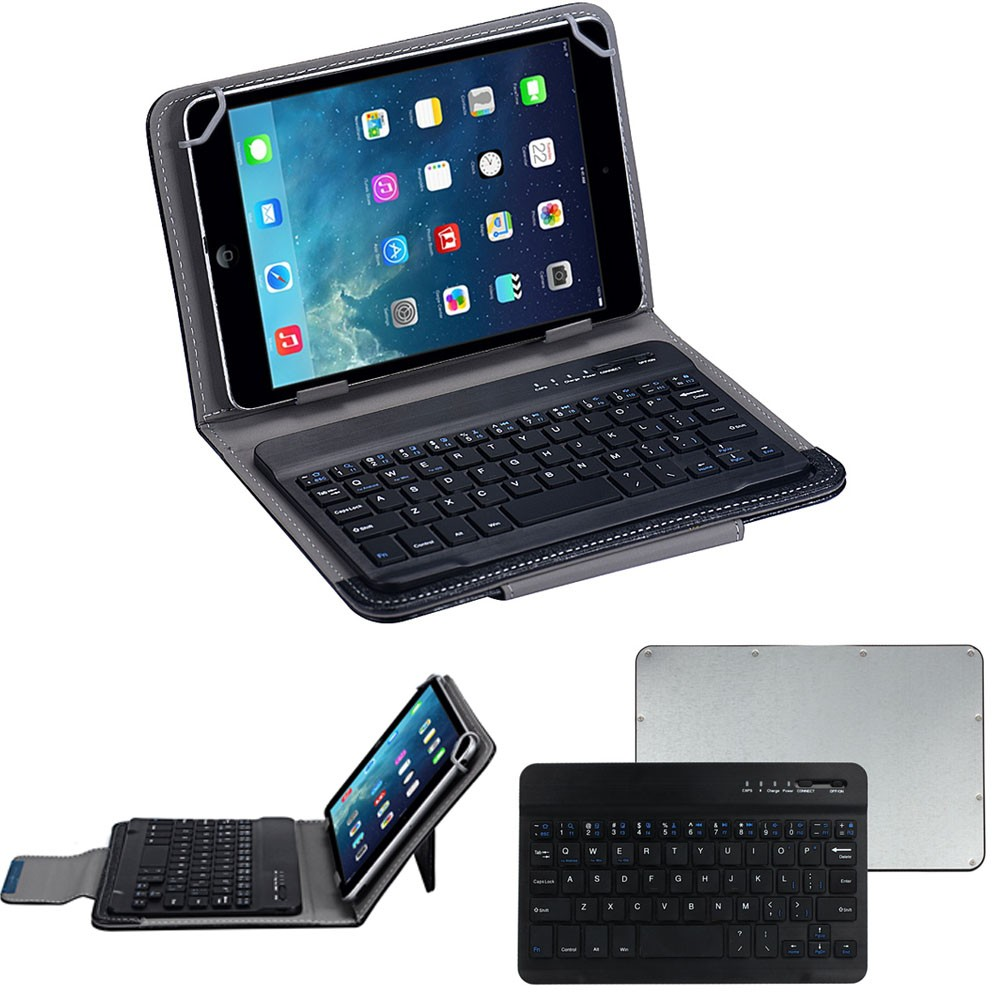 High quality Mini New Wireless Slim Aluminum Bluetooth Keyboard For IOS Android PC + Leather Case(China (Mainland))