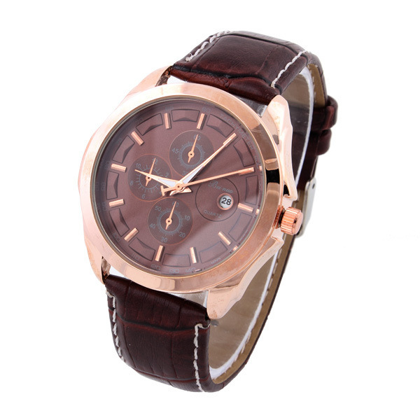 Relogio Masculino New 2015 Men PU Leather Strap Fashion Casual Quartz Date display Wristwatch Clock Male reloj hombre montre - LEAR Watch & Jewelry store