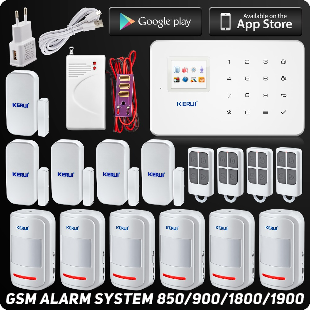 Kerui G18 Wireless Phone app GSM Alarm System TFT Color Display Home Security Alarm System Wireless Water Leak Detector(China (Mainland))