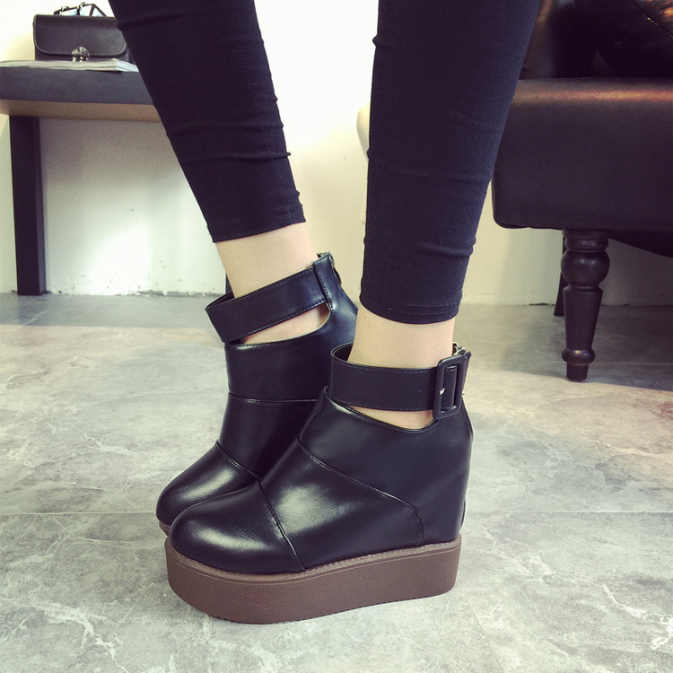 2015 High quality fashion  autumn boots platform wedges Belt buckle ankle boots martin boots for women motorcycle boots 8606